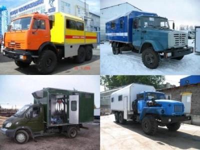 Спецавтофургоны мастерская, вахтовые грузопассажирские автобусы, лаборатория, техпомощь./