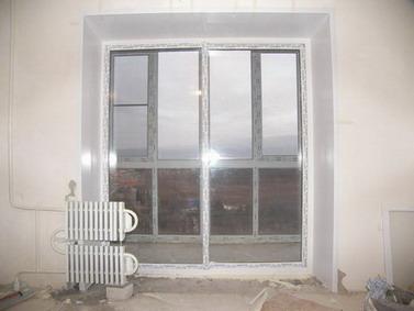 Французские пластиковые окна раздвижные на балконный блок.