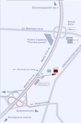 Схема проезда, Московская область, г. Котельники/