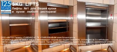 Кухонные (пищевые) лифты для ресторанов. Лифты электрические малые грузовые для подъёма еды, посуды, блюд, продуктов, бутылей и тары на предприятиях общественного питания, столовых, кафе и ресторанов. Лифты SKG (Германия) от официального поставщика. Низки/